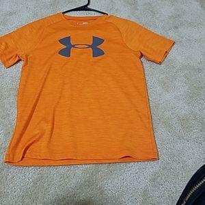 Orange under armour, dri-fit t-shirt.